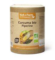 Nat&form Eco Responsable Curcuma + Pipérine Bio Gélules B/200 à VANNES